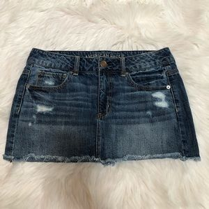 American Eagle cut off mini denim skirt